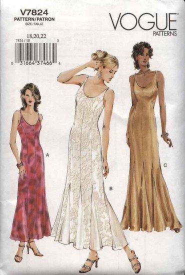 Vogue Sewing Pattern 7824 Misses Size 6 8 10 Formal