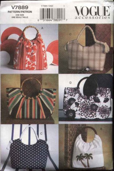 Vogue Sewing Pattern 7889 Four Summer Bags Purses Handbag Totes
