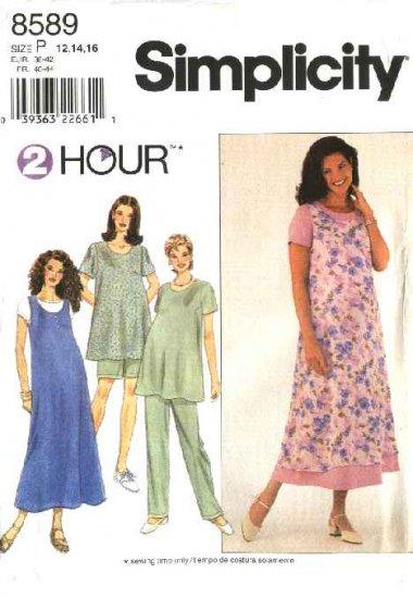 Simplicity Sewing Pattern 8589 Misses Size 18-22 Maternity Wardrobe Dress Jumper Top Pants Shorts
