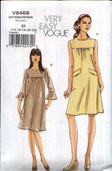 Vogue Sewing Pattern 8468 Misses Size 14-22 Easy  Loose Fitting A-Line Lined Dress Sleeve Variations