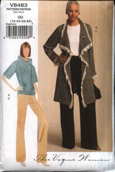 Vogue Sewing Pattern 8483 Misses Size 18-24 Easy Unlined Long Short Jacket Slightly Flared Pants