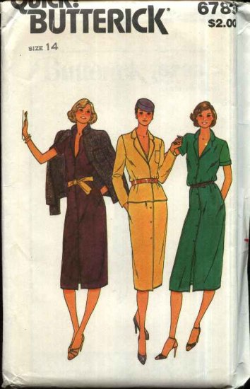 Retro Butterick Sewing Pattern 6783 Misses Size 14 Button Front Short Sleeve Dress Jacket