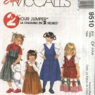 McCall's Sewing Pattern 9510 Girls Size 2-3-4 Easy Classic Pullover Jumper  Pockets Side Ties