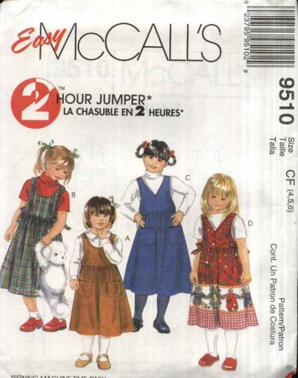 McCall�s Sewing Pattern 9510 Girls Size 4-5-6 Easy Classic Pullover Jumper  Pockets Side Ties