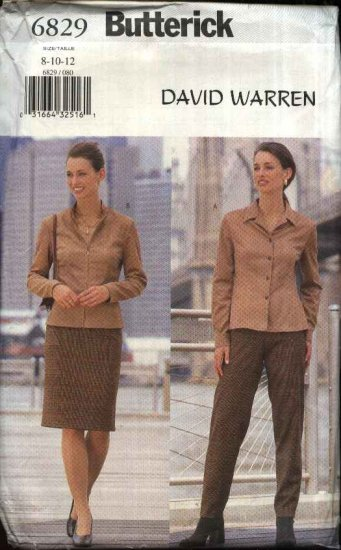 Butterick Sewing Pattern 6829 Misses Size 14-16-18 Straight Skirt Long Pants Blouse Top Zipper Front