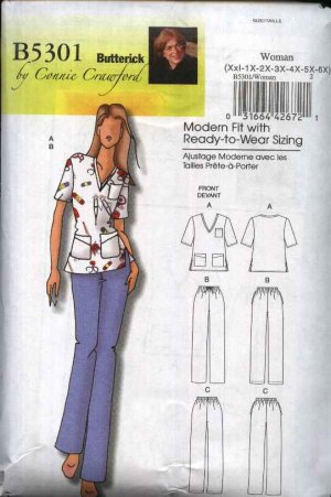 Butterick Sewing Pattern B5301 5301 Women's Plus Size 18W-44W Easy Uniform Scrub Top Pants Nurse