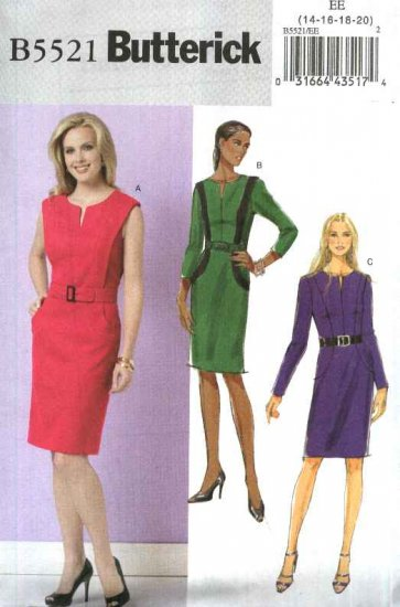 Butterick Sewing Pattern 5521 B5521 Misses Size 6-12 Easy Lined Straight Princess Seam Dress Belt