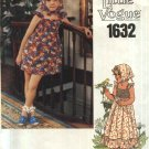 Vogue Sewing Pattern 1632 Girls Size 5 Sundress Sleeveless Short Long Dress Bloomers Scarf