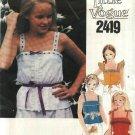 Vogue Sewing Pattern 2419 Girls Size 8 Suntops FOUR Summer Sleeveless Tops