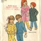 Simplicity Sewing Pattern 5103 Boys Girls Size 3 Classic Pajamas Button Front Top Long Pants Robe