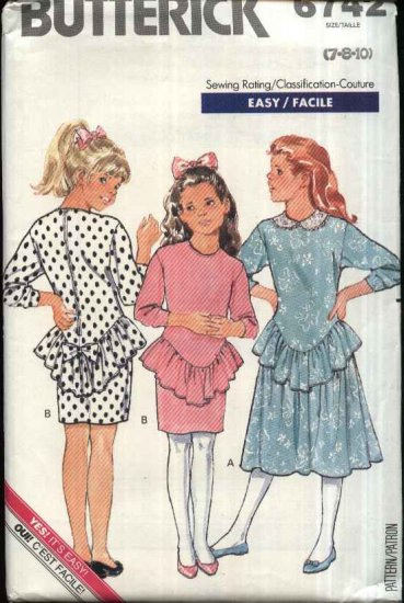 Retro Butterick Sewing Pattern 6742 Girls Size 12-14 Easy Knit Dropped Waist long Sleeve Dresses