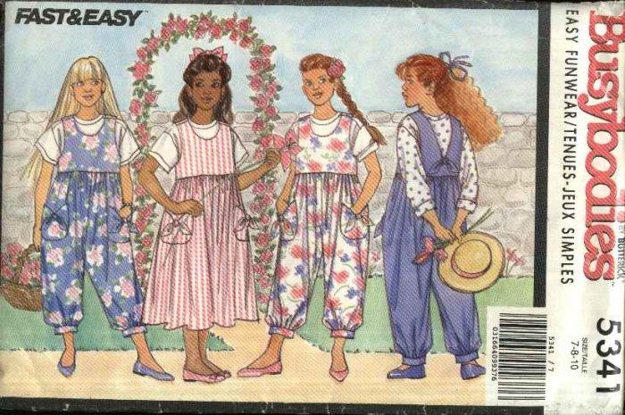 Butterick Sewing Pattern 5341 Girls Size 7-8-10 Easy Jumper Jumpsuit Romper