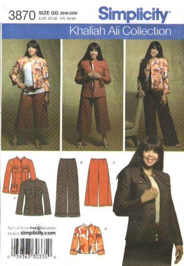 Simplicity Sewing Pattern 3870 Womans Plus Size 26W-32W Jacket Gauchos Pants Culottes Khaliah Ali