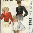 McCall's Sewing Pattern 7793 Misses Size 10 Long Sleeve Button Front Princess Seam Blouse Ruffle