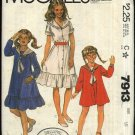 McCall's Sewing Pattern 7913 Girls Size 10 Laura Ashley Button Front Flared Dress Sailor Collar