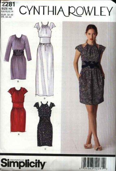 Simplicity Sewing Pattern 2281 Misses Size 14-22 Cynthia Rowley Long Short Midriff Dress