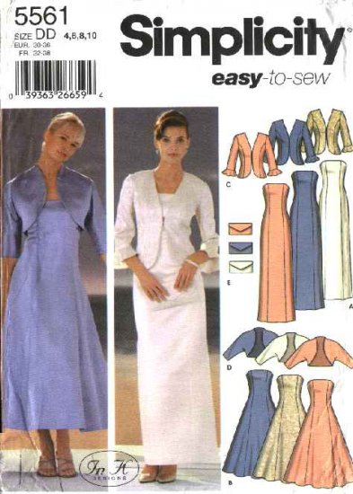 Simplicity Sewing Pattern 5561 Misses Size 12-18 Easy Formal Prom Flared Straight Dress Jacket Shrug