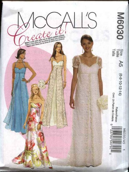 Mccalls Sewing Pattern 6030 Misses Size 6 14 Formal Wedding Bridal