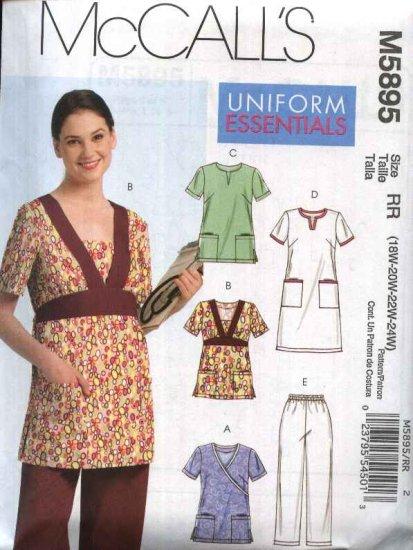 McCall's Sewing Pattern 5895 Womans Plus Size 18W-24W Scrub Uniform Tops Dress Pants Nurse