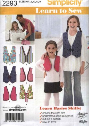 Simplicity Sewing Pattern 2293 Girls Size 3-6 Learn to Sew Lined ...