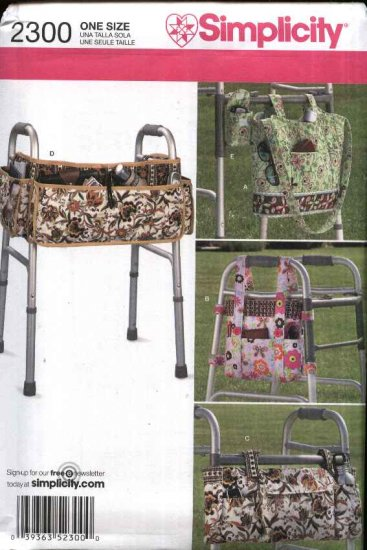 Simplicity Sewing Pattern 2300 Walker Accessories Bags