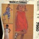 McCall's Sewing Pattern 7980 Girls Size 10 Sundress Summer Dress Jumpsuit Romper