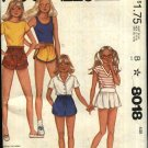 McCall's Sewing Pattern 8018 Girls Size 10 Pull on Shorts Skorts with Variations