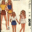 McCall's Sewing Pattern 8018 Girls Size 12 Pull on Shorts Skorts with Variations