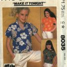 McCall's Sewing Pattern 8035 Girls Size 10 Button Front Short Cap Sleeve  Shirt Pullover Top