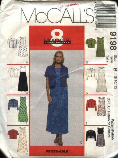 McCall�s Sewing Pattern 9198 Misses Size 8-10-12 Easy Raised Waist A-Line Dress Short Jacket