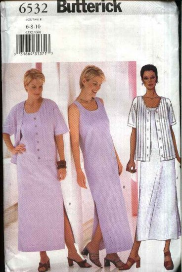 Butterick Sewing Pattern 6532 Misses Size 6-8-10 Easy Sleeveless Straight Long Dress Jacket