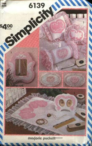 Simplicity Sewing Pattern 6139 Craft Shadow Quilting Accessories Hearts Valentines Day Pillow
