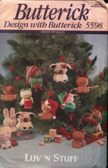Butterick Sewing Pattern 5598 Luv 'N Stuff Soft Sculpture Animal Christmas Tree Ornaments