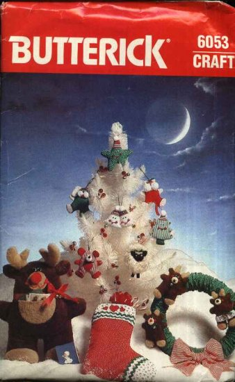 Butterick Sewing Pattern 6053 Crafts Christmas Ornaments Wreath Stocking Reindeer Card Holder