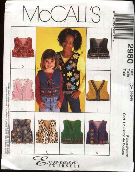 McCall's Sewing Pattern 2980 Girls Size 3-4-5 Button Tie Front Vest Trim Applique Variations