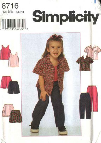 Simplicity Sewing Pattern 8716 Girls Size 3-6 Wardrobe Classic Shirt Skirt Pants Top Shorts