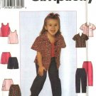 Simplicity Sewing Pattern 8716 Girls Size 3-6 Wardrobe Classic Shirt Skirt Pants Top Shorts