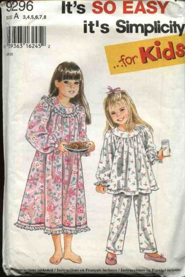 Simplicity Sewing Pattern 9296 Girl�s 3-8 Easy Baby Doll Pajamas Nightgown Top Long Pants