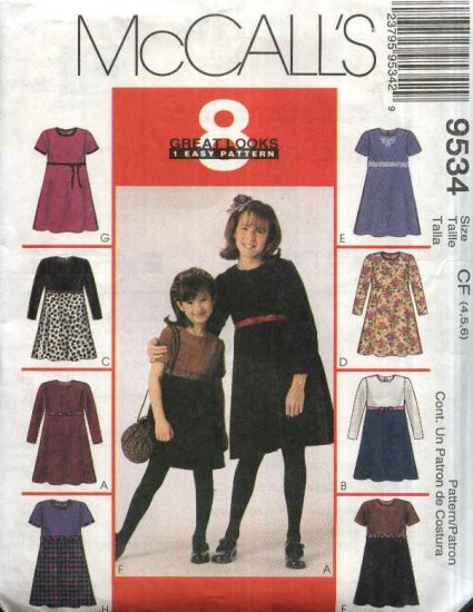 McCall�s Sewing Pattern 9534 Girls Size 3-4-5 Easy Raised Waist Short Long Sleeves Dress Purse