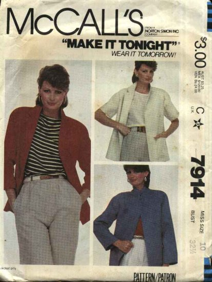 McCall�s Sewing Pattern 7914 Misses Size 18 Unlined Raglan Sleeve Jackets