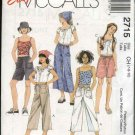 McCalls Sewing Pattern 2715 Girls Size 12-16 Easy Drawstring Pants Shorts Camisole Peasant Top Scarf