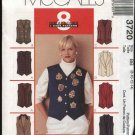 McCall's Sewing Pattern 3720 Misses Size 16-22 Easy Fitted Button Front Tuxedo Style Lined Vest