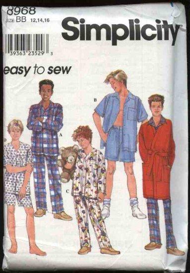 Simplicity Sewing Pattern 8968 Boys Size 12-14-16 Easy Pajamas Robe Shirt Pants Shorts