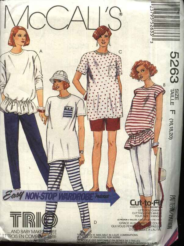 McCall�s Sewing Pattern 5263 Misses Size 16-20 Easy Maternity Knit Wardrobe Tops Pants Shorts