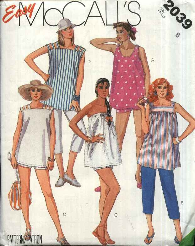 McCall�s Sewing Pattern 2039 Misses Size 8 Easy Maternity Summer Tops Shorts Cropped Pants