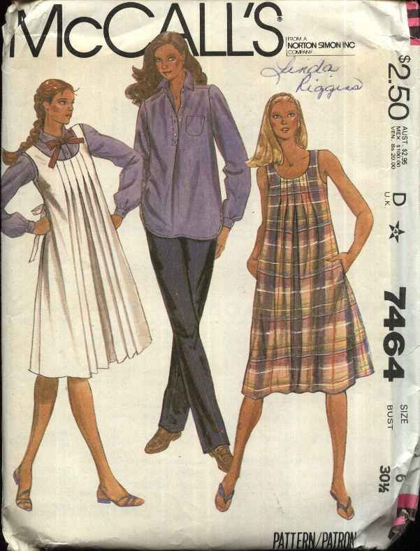 McCall�s Sewing Pattern 7464 Misses Size 6 Maternity Jumper Dress button Front Shirt Pants