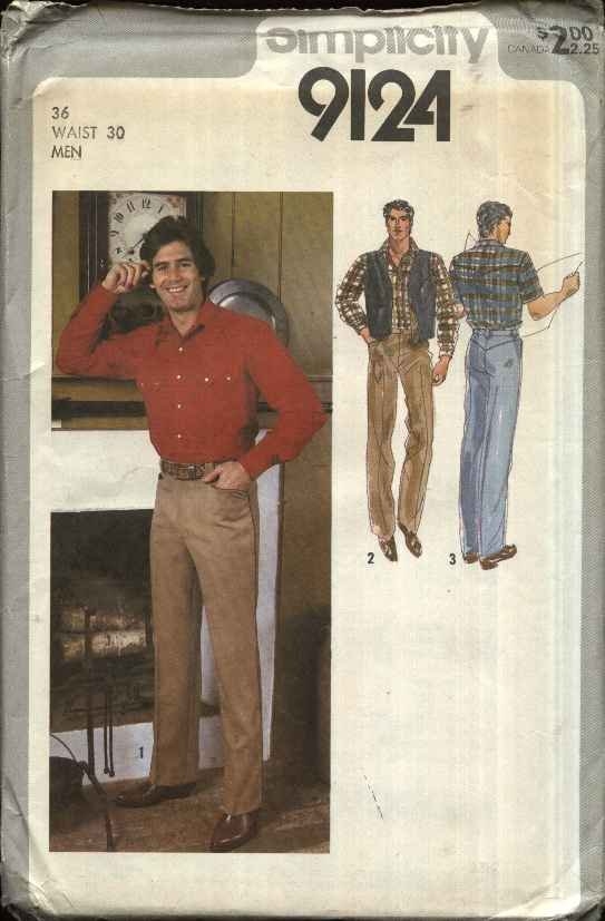 Simplicity Sewing Pattern 9124 Mens Size 36 Western Style Shirt Jeans Pants Reversible Vest