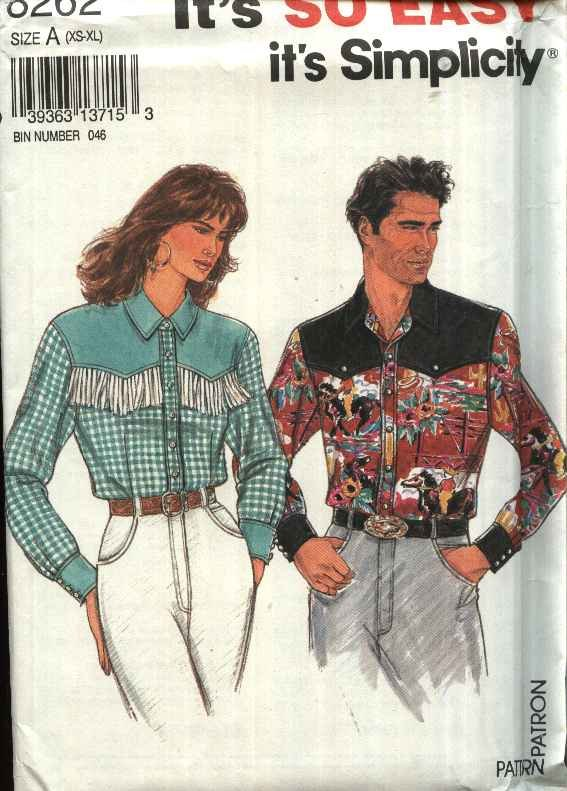 "Simplicity Sewing Pattern 8262 Misses Mens Unisex Sizes XS-XL Chest 30-48"" Western Style Shirt"