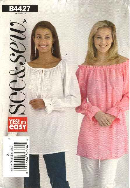 Butterick Sewing Pattern 4427 Misses Size 16-18-20-22 Easy Pullover Peasant Top