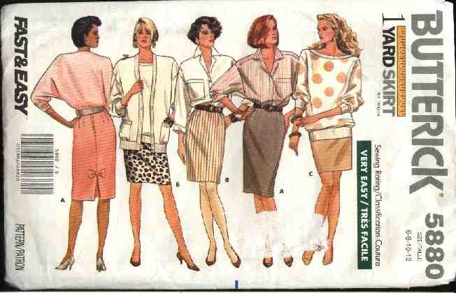 Butterick Sewing Pattern 5880 Misses Size 14-20 Easy One Yard Straight Skirts